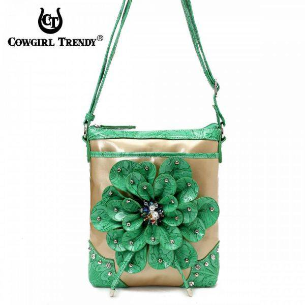 Green Flower Center Accented And Studs Messenger Bag - TUF 4699F