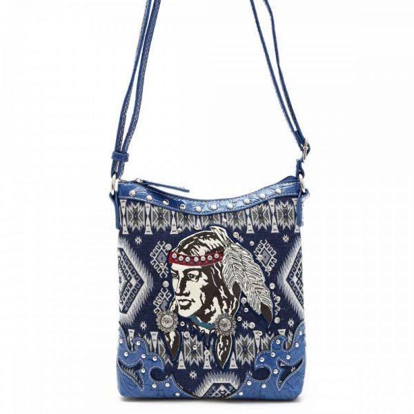 Blue 'Native American' Western Messenger Bag - INW 4699
