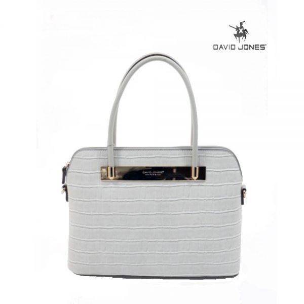 Beige David Jones Structured Crocodile Satchel Handbag - 5550-1