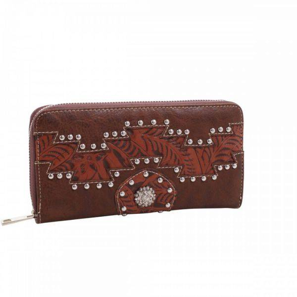 Brown Cowgirl Trendy Aztec Zip-Aroun Wallet - MJ7005N