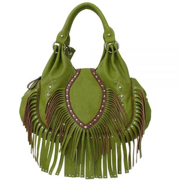 Green Fashion Fringe Hobo Shoulder Handbag - AEW 816