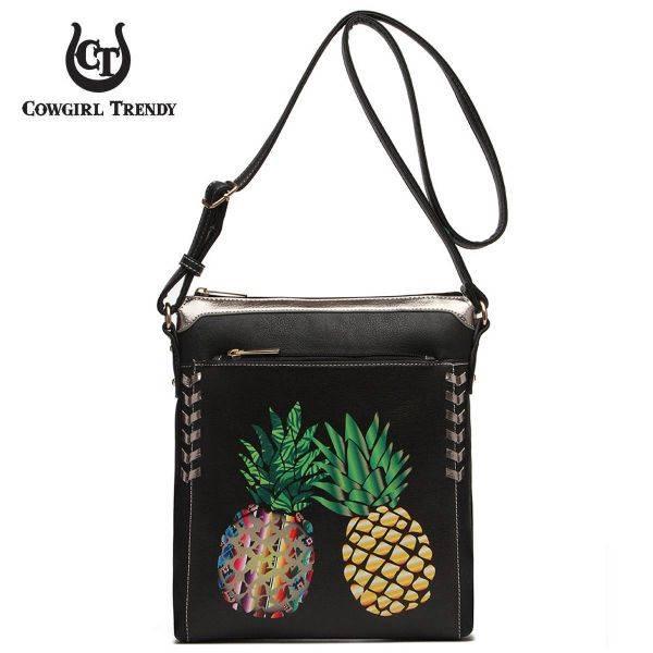 Black Western Pineapple Printed Messenger Bag - APPF2 5439