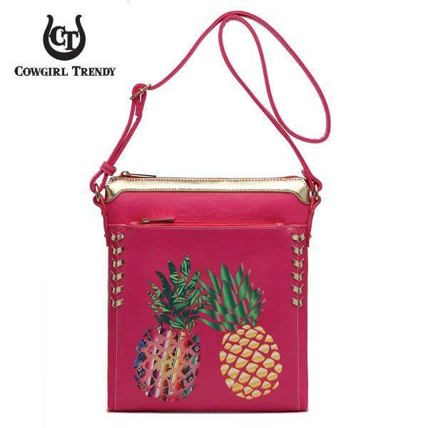 Fuchsia Western Pineapple Printed Messenger Bag - APPF2 5439