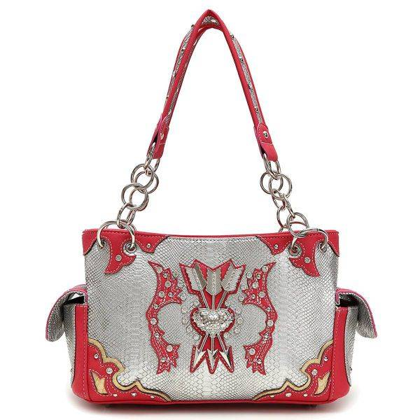 Fuchsia Western Cowgirl Arrows Accented Handbag - ARR 8469