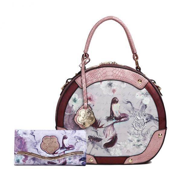 Burgundy Arosa Princess Mermaid Handbag Set - BC8102-BCW8682