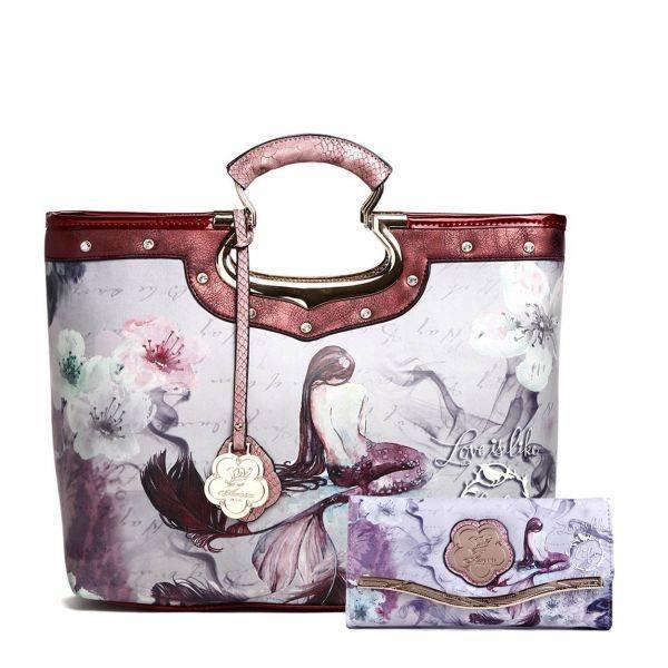 Burgundy Arosa Princess Mermaid Handbag Set - BC9282-BCW8682