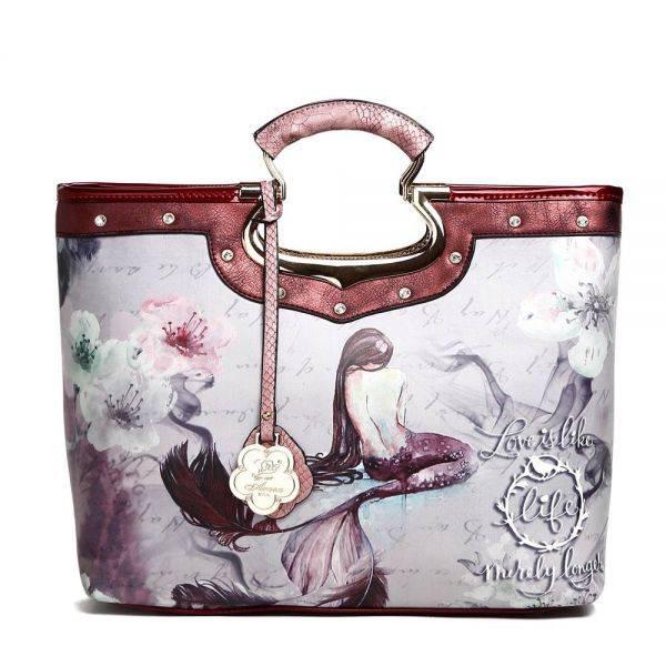 Burgundy Arosa Princess Mermaid Top Handle Tote Handbag - BC9282