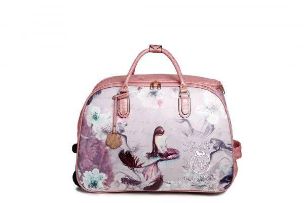 Burgundy Arosa Princess Mermaid Wheel Duffel Handbag - BCD6988