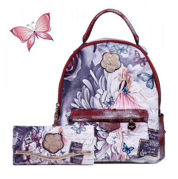 Burgundy Arosa Dreamers Backpack and Wallet - BFB8939-BFW8682