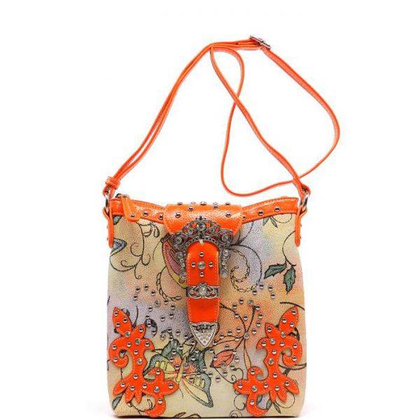 Orange Western Butterfly Print Messenger Bag - BFY 4699