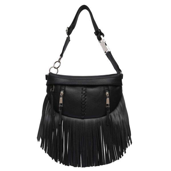 Black Solid Fringe Front Zippered Fanny Pack - BH 567
