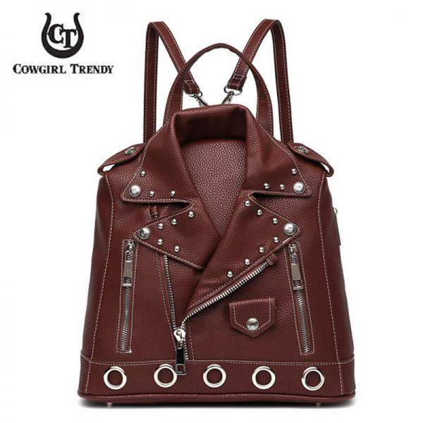 Brown 'Cowgirl Trendy' Biker Jacket Handbag - BKT3 5386