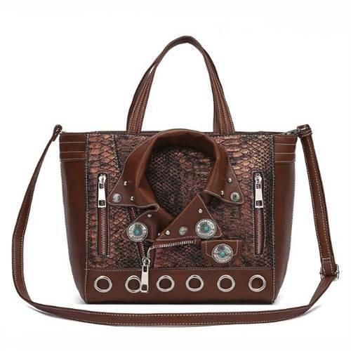 Brown Motorcycle Jacket Designer Inspired Handbag - BKT5 5604