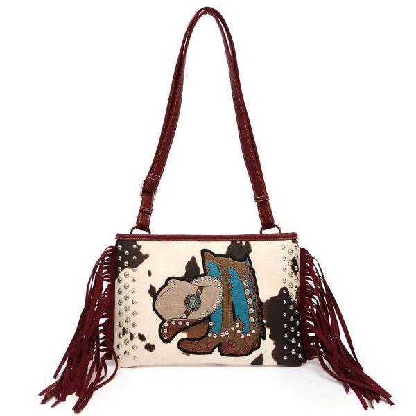 Burgundy Western Cowgirl Fringe Messenger Bag - BOO6 5241