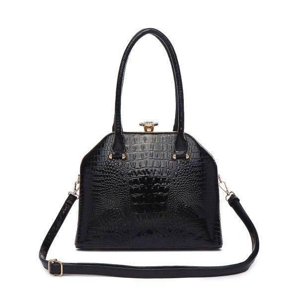 Black Jewel-top Crocodile Satchel Handbag - CCR 5712