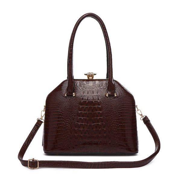 Brown Jewel-top Crocodile Satchel Handbag - CCR 5712