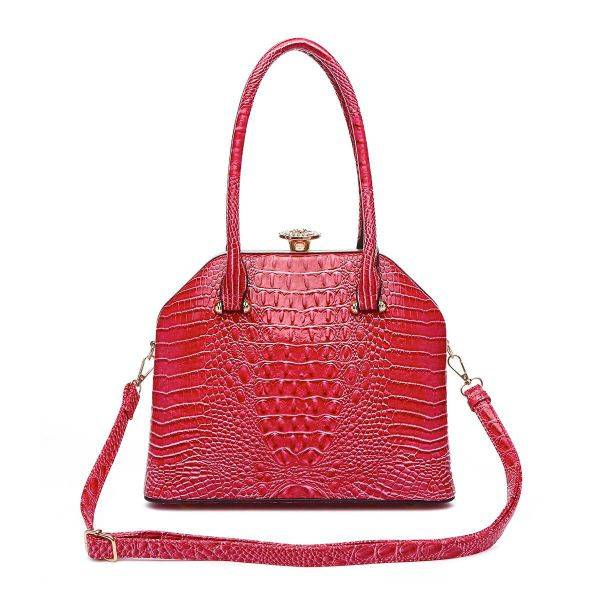 Fuchsia Jewel-top Crocodile Satchel Handbag - CCR 5712