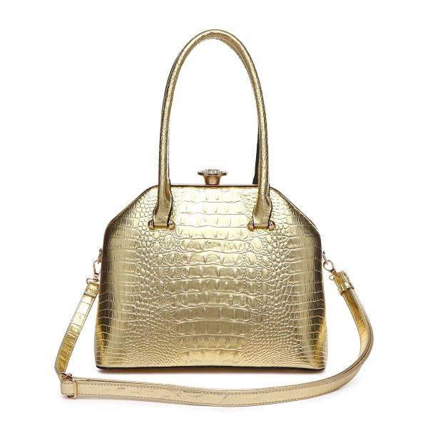 Gold Jewel-top Crocodile Satchel Handbag - CCR 5712