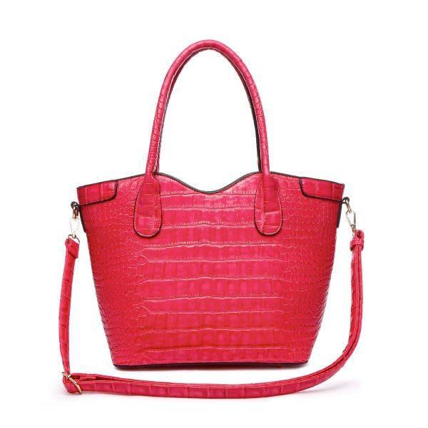 Fuchsia Top Handle Crocodile Shopper Handbag - CCR2 5713