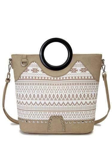 Natural 'Cowgirl Trendy' Aztec Print Handbag - CND 5197
