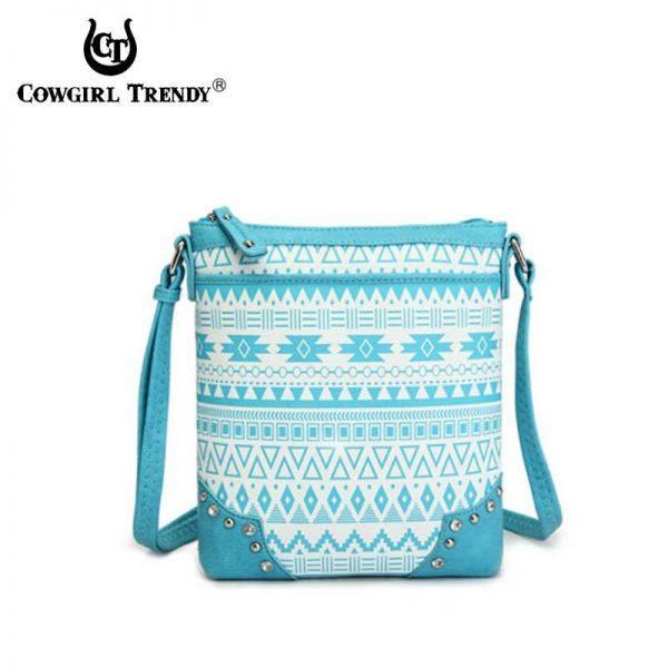 Aqua Aztec Print Western Messenger Bag - CND 9469
