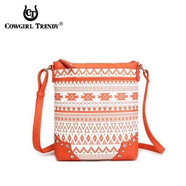 Orange Aztec Print Western Messenger Bag - CND 9469