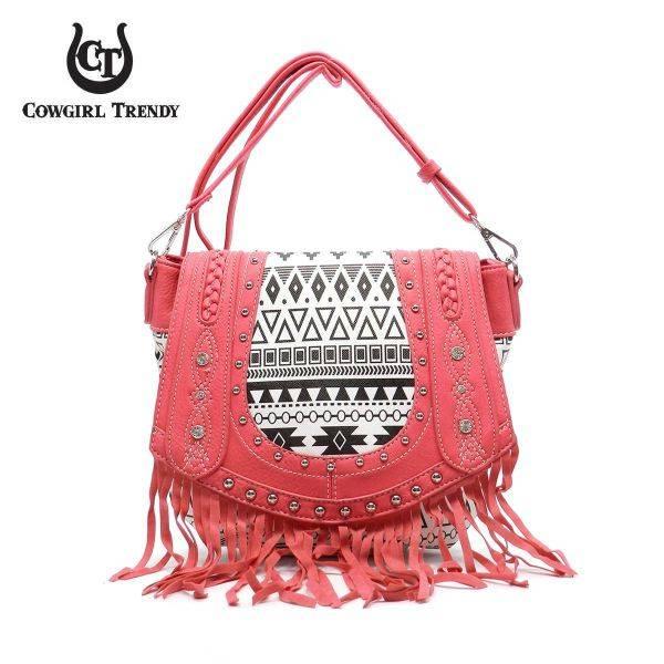 Fuchsia Aztec Print Embroidery Flap Fringe Messenger Bag - CND