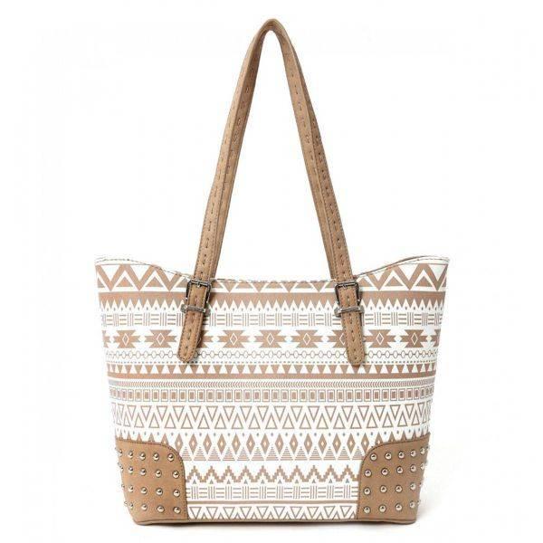 Natural Aztec Print Tote Handbag - CND 4975B