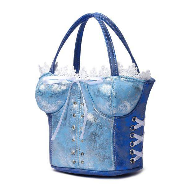 Blue Corset Accented Double Handle Satchel Handbag - CRST 5765