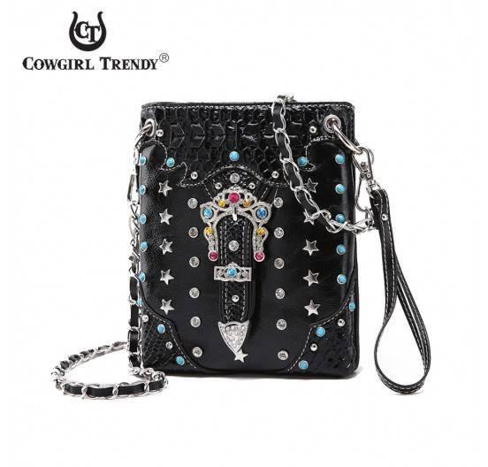 Black Multi Color Buckle W/Multi Messenger Bag - CSW2 100