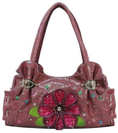 Fuchsia Croco Pattern W/Flower Fashion Handbag - FJR3 4586
