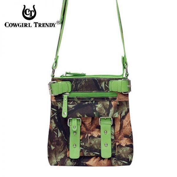 Lime Western Leaves & Trees Messenger Bag - FML12 4690