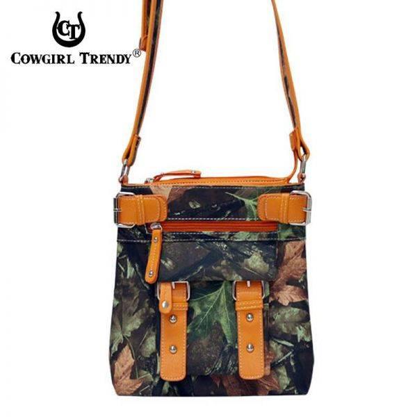 Orange Western Leaves & Trees Messenger Bag - FML12 4690