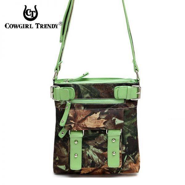 Lime Western Leaves & Trees Messenger Bag - FML18 4690