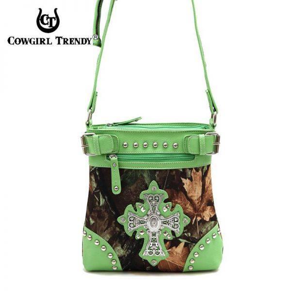 Lime Western Leaves & Trees Messenger Bag - FML20 4690
