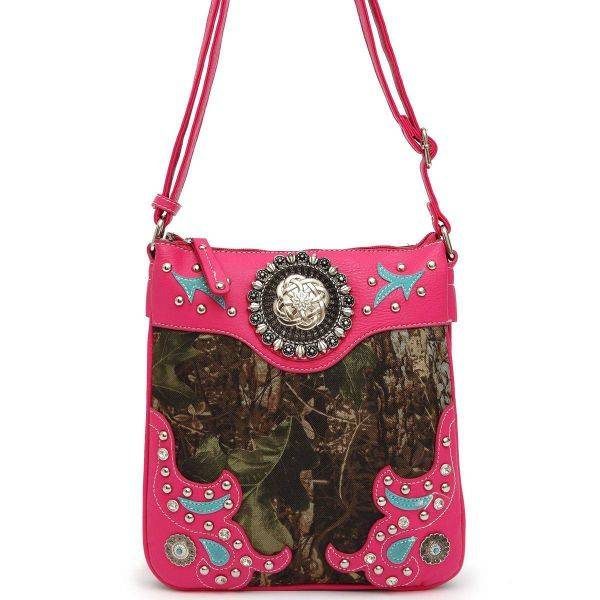 Fuchsia Camo Symbol Stoned Paisley Messenger Bag - FML25 5275