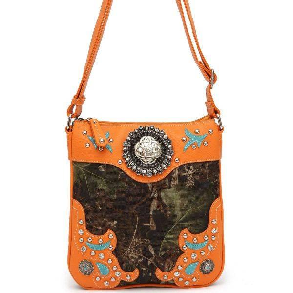 Orange Camo Symbol Stoned Paisley Messenger Bag - FML25 5275