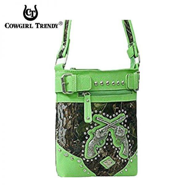 Lime 'Double Gun' Leaves N Trees Messenger Bag - FML27 4699