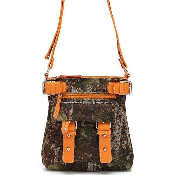 Orange 'Leaves & Trees' Western Messenger Bag - FML28 4690