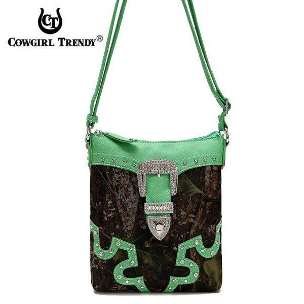 Lime Leaves & Trees with Buckle Messenger Bag - FML28 4699B