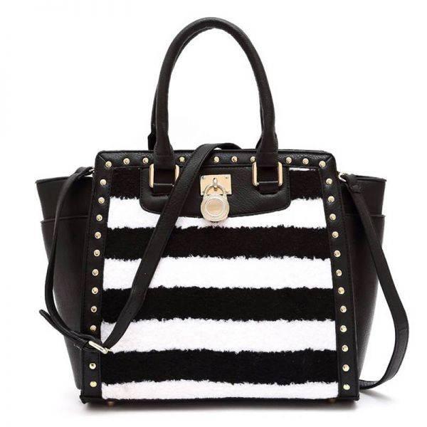 Black Two Tone Stripe Fur Inspired Satchel Handbag - FST 1507