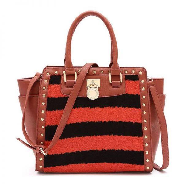 Orange Two Tone Stripe Fur Inspired Satchel Handbag - FST 1507