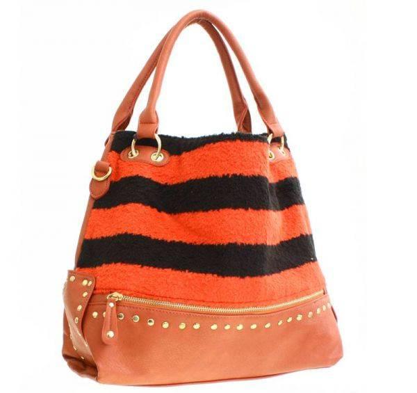 Burnt Orange Stripe Synthetic Fur Hobo Handbag - FST 5304