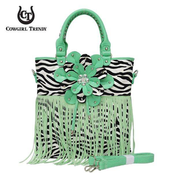 Aqua Green Zebra Printed W/Flower & Fringe Handbag - FZB 5176