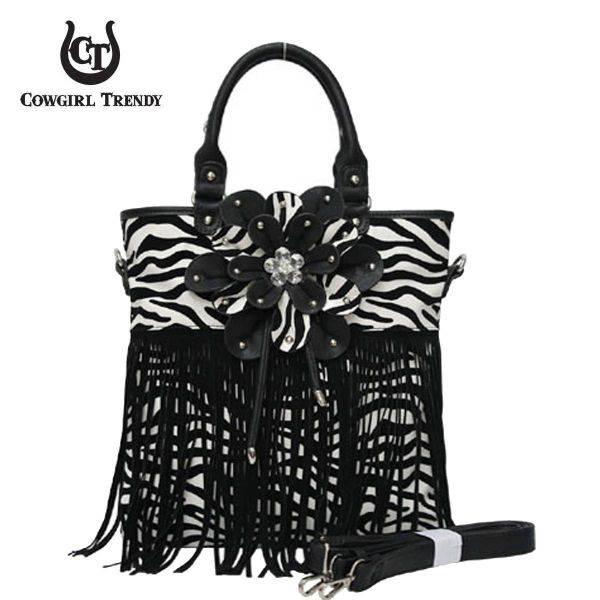Black Zebra Printed W/Flower & Fringe Handbag - FZB 5176