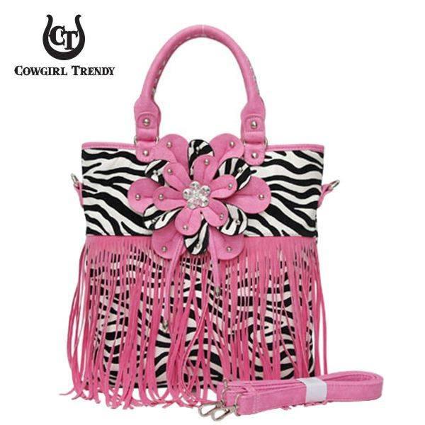 Daisy Pink Zebra Printed W/Flower & Fringe Handbag - FZB 5176