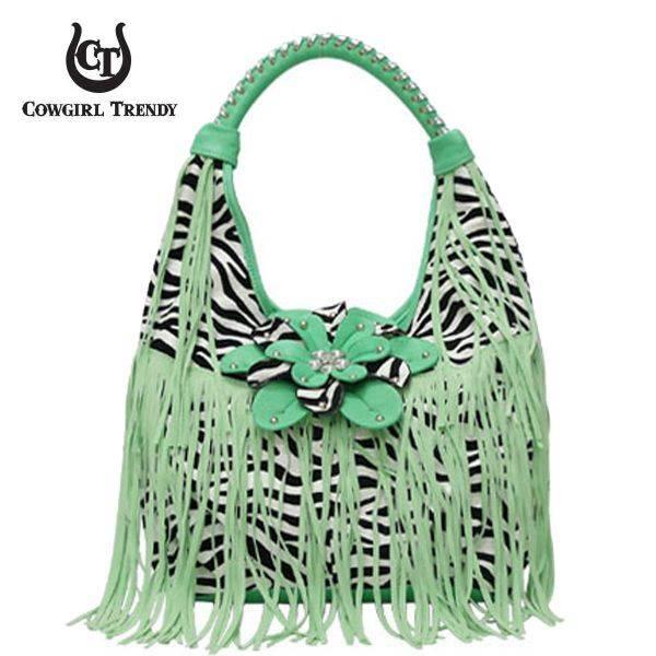 Aqua Green Zebra Printed W/Flower & Fringe Handbag - FZB 5177