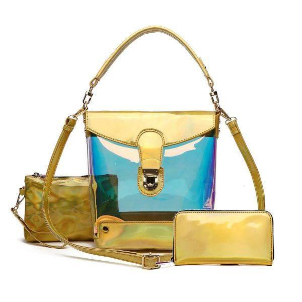 Gold Hologram 3 In 1 Bucket Shoulder Handbag Set - HAR5 2589
