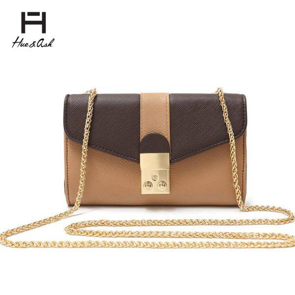 Brown Mini Two Tone Chain Strap Messenger Bag - HNA 2031