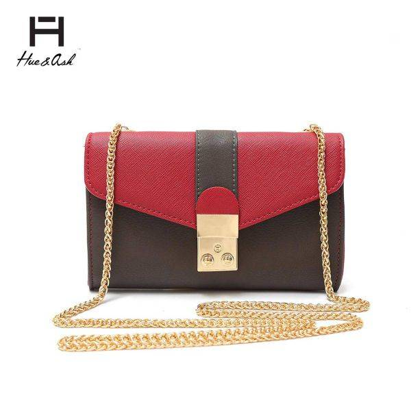 Burgundy Mini Two Tone Chain Strap Messenger Bag - HNA 2031